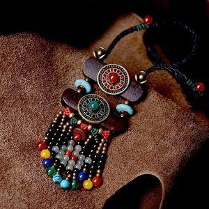 Jewelry - Boho Ethnic Necklace stone maxi long Necklace